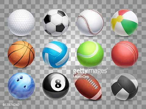 Realistic sports balls vector big set isolated on transparent background : Vector Art