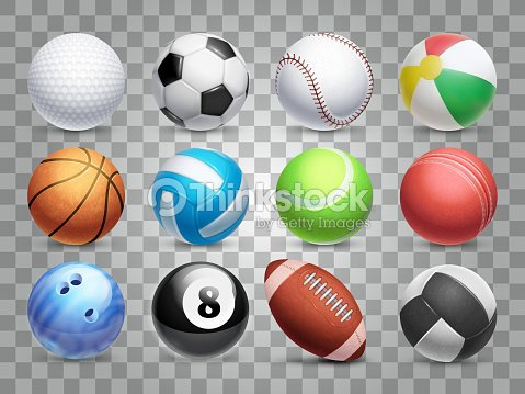 Realistic sports balls vector big set isolated on transparent background : arte vettoriale