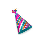 Realistic striped, shiny birthday, Christmas party hat, vector illustration isolated on white background. Realistic birthday, Christmas party hat with stripe pattern