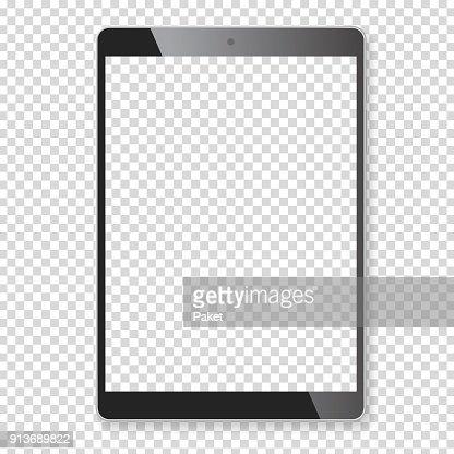 現実的なタブレット ポータブル コンピューターのモックアップ : ベクトルアート