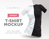Realistic Template Blank White and Black Woman T-shirt Cotton Clothing. Empty Mock Up Vector illustration