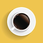Realistic top view white coffee cup and saucer isolated on yellow background. illustration