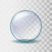 Empty snow globe. Realistic transparent glass sphere vector illustration