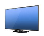 Realistic TV screen. Modern stylish lcd panel, led type. Large computer monitor display mockup