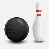 Realistic vector Ball and Pin of Bowling. Isolated Objects with Shadows on Sport Theme