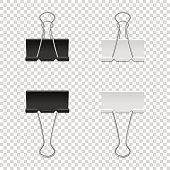 Realistic vector binder clip icon set isolated on transparent backgraund. Design tamplate, mockup, EPS10 illustration.