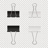 Realistic vector binder clip icon set isolated on transparent backgraund. Design tamplate, mockup, EPS10 illustration.