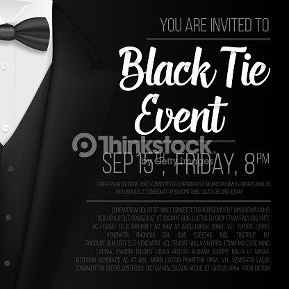 dff4942b5cab Realistic Vector Black Suit. Black Tie Event Invitation Template. Vector  Mens Suit with Bow Tie