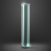 Realistic vector empty glass test tube template isolated on transparent checkered background. Laboratory equipment flask illustration