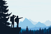 Realistic vector illustration of a night mountain landscape with trees and standing tourist with a backpack, with space for text