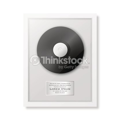 Realistic Vector Lp And Label In Glossy White Frame Icon Closeup ...