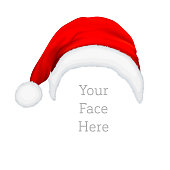 Realistic vector red Santa Claus hat icon isolated on white background. Design template accessory of Christmas and New Year party for app, web etc.