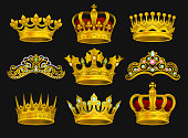 Collection of golden crowns and tiaras decorated with precious stones. Shiny headdress of royal person. Elements for logo of jewelry store. Realistic vector illustrations isolated on black background.