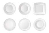 Realistic vector white food empty plate icon set closeup isolated on white background. Kitchen appliances utensils for eating. Design template, mock up for graphics, printing etc. Top view.