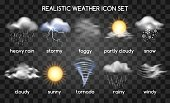Realistic weather icons set isolated on transparent background. Vector set with type of weather