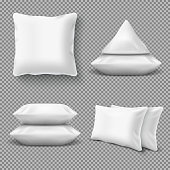 Realistic white comfortable pillows, home cushions with natural feather. Isolated vector mockup for bedding textile. Illustration of pillow for home bed or bedroom, cotton soft comfortable