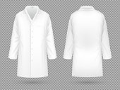 Realistic white medical lab coat, hospital professional suit vector template isolated. Illustration of uniform for doctor hospital and medical staff