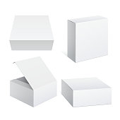 Realistic White Package Cardboard Box set. For Software, electronic device and other products. Vector illustration