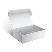 Realistic White Package Cardboard Box. For Software, electronic device and other products. Vector illustration