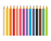 Realistic 3d wooden colored pencils isolated on white background. Set of pencil colorful for school vector illustration