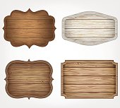 4 realistic wooden signs set. Decoration elements. Vintage style. Vector