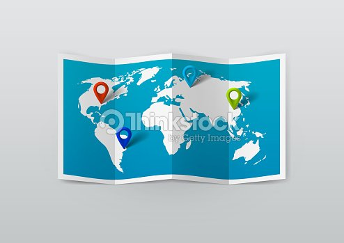 Realistic World Map With Tag Pins Vector Art Thinkstock