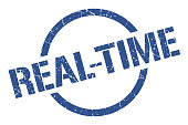 real-time blue round stamp