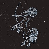 ab2d8b7159f4c Rearing Centaur holding bow and arrow. Boho style look. Black nightsky  background with stars