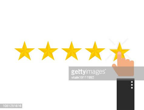 Reating star 5 with hand in flat style, vector : stock vector