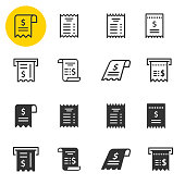 Receipt icon set. Black vector illustrations isolated on white. Simple pictograms for graphic and web design.