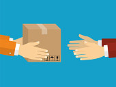 Receiving package from courier to customer. Delivery concept. Flat design style