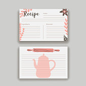 Vintage recipe card template. Vector illustration.