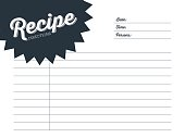 Recipe card with white background. On the card are words written: 'Recipe' 'Direction' 'Date' 'Time' 'Persons'. To use for a recipe creation or for recipe notes. Vector and illustration design. AI 10