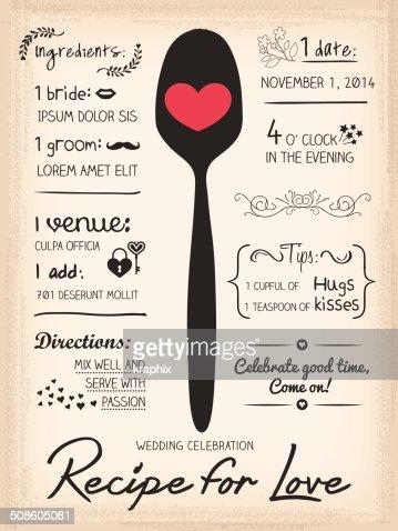 Receta para Love creative invitación de boda : Arte vectorial