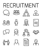 Recruitment related vector icon set. Well-crafted sign in thin line style with editable stroke. Vector symbols isolated on a white background. Simple pictograms.