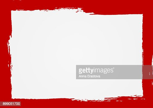 Rectangle background with a red frame. Painted by hand with a rough brush. Sketch, ink, grunge. : stock vector