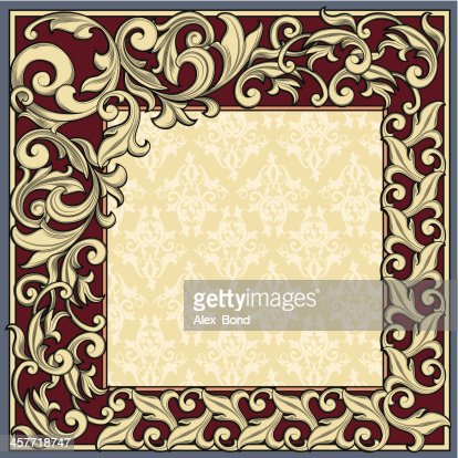 rectangle ornate frame vector art