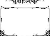Rectangular black retro framework and decorative element. Art Nouveau style.