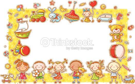 rectangular frame with cartoon kids vector art - Cartoon Kids Pics