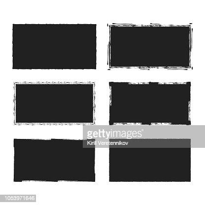 Rectangular grunge rough shape. Vector isolated background. Chalk edge box frame. Distressed badge. : stock vector