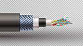 Rector realistic  illustration of fiber optic tight buffered cable structure.