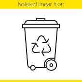 Recycle bin linear icon. Wastebasket. Thn line. Vector