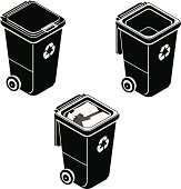 A vector illustration of a recycle garbage bin in various states.