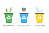 Recycle bins for plastic, paper, glass vector icons in flat style isolated on white background. Waste sorting concept to protect the environment