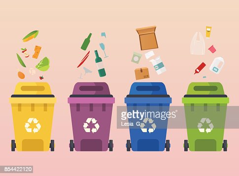Recycle garbage bins. Waste types segregation recycling: organic, paper, glass waste. Flat design modern vector illustration concept. : stock vector