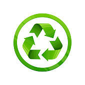 Recycle green icon. Round shape symbol, eco green color, 3d style, white background. vector illustration