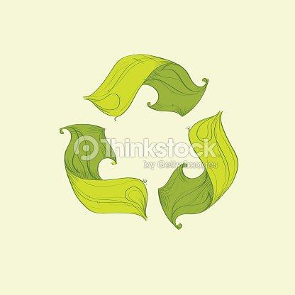 Simbolo Di Riciclo Logo Con Albero Verde Piatto Icona Arte