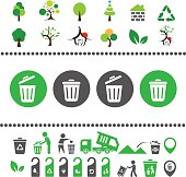 vector recycling bin and arrow icon