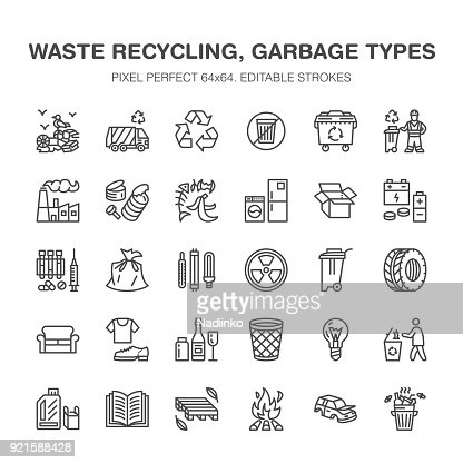 Recycling flat line icons. Pollution, recycle plant. Garbage sorting types - paper, glass, plastic, metal, flammable trash. Thin linear signs for waste management. Pixel perfect 64x64 : stock vector