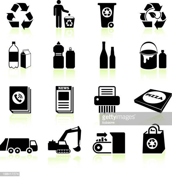 Recycling process black & white royalty free vector icon set